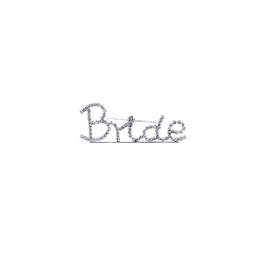 "Pin 025 86 Rhinestone embellished wedding party pin, ""Bride"" in silver."