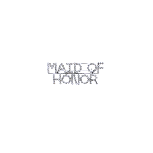 "Pin 018 86 Rhinestone embellished wedding party pin, ""Maid of Honor"" in silver."