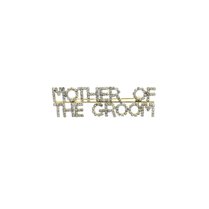 "Pin 007 86 Rhinestone embellished wedding party pin, ""Mother of the Groom"" in gold."