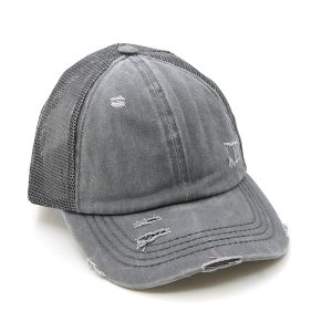 CC Pony Cap 366a washed denim criss cross ponytail gray