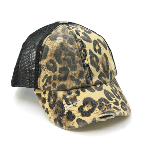 CC Pony Cap 377a washed denim criss cross ponytail leopard black