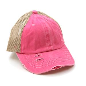 CC Pony Cap 365a washed denim criss cross ponytail pink beige