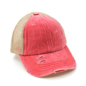 CC Pony Cap 356a washed denim criss cross ponytail red beige