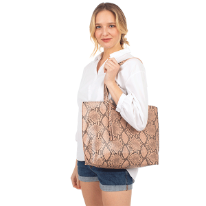 Fadivo CB1431 snake print leatherette shopper tote pink