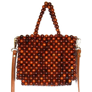 Fadivo CB9682 wooden bead mini bag brown