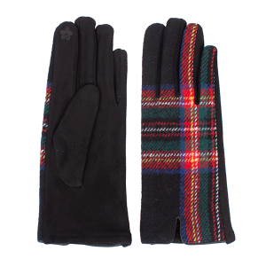 Winter Gloves 027 08 Fadivo soft plaid accent smart touch black