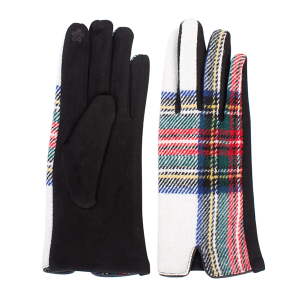 Winter Gloves 024 08 Fadivo soft plaid accent smart touch white