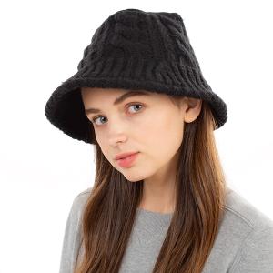 Winter Bucket Hat 422 08 Fadivo cable knit black