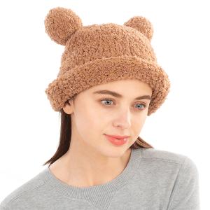 Winter Beanie 412 08 Fadivo chenille teddy bear taupe