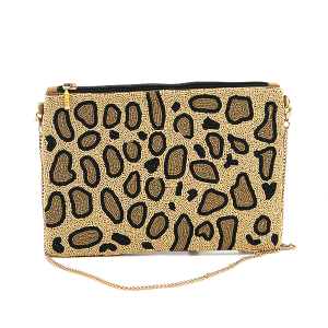 Kaylee CL8007 beaded clutch leopard accent brown