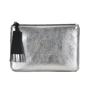MMS CLS 82208 tassel two color mini clutch silver