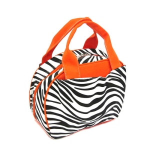 CS 530 z canvas lunch box zebra orange