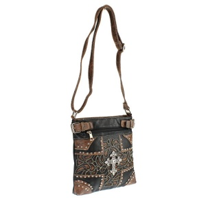 CS G 604 W77 LCR western cross crossbody black brown