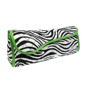 CS QT 5060 quilted curling iron bag zebra green