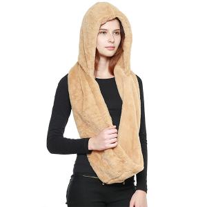 Scarf 437g 08 Fadivo head wrap hood scarf faux fur camel