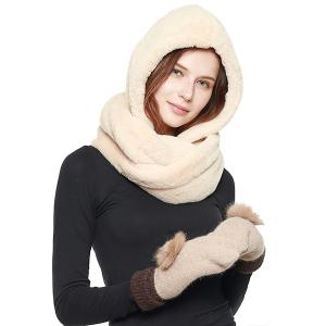 Scarf 462e 08 Fadivo head wrap hood scarf faux fur taupe