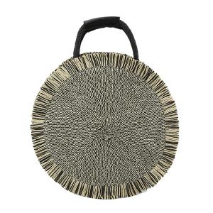 Handbag Republic CTES-0011 round straw satchel black