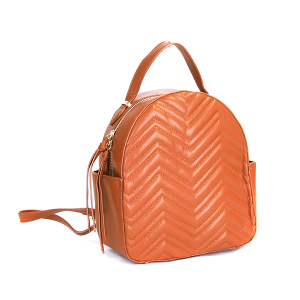 (CTJY-0021 BR) Handbag Republic Quilted Chevron Mini backpack in cognac brown.