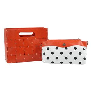 Handbag Republic D-0594 2 in 1 crossbody polka dot orange