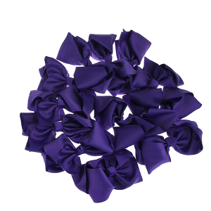 12 pack Bow set clip black colored hairclips dark purple