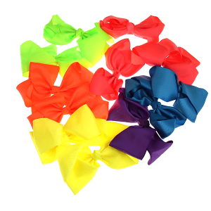 12 pack Bow set clip black colored hairclips multi-colored
