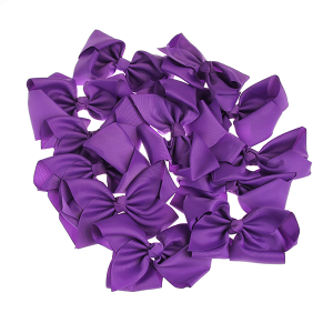 12 pack Bow set clip black colored hairclips purple