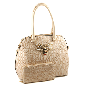 Handbag Republic DXV-0103-B 2 in 1 satchel wallet set woven bee beige