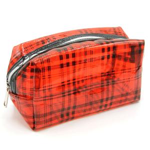 Plaid transparent cosmetic bag unica ECB-6710A red