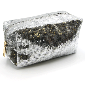 Sequin cosmetic bag unica ECB-6710D silver