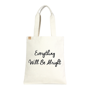 LOF ECO-174 shopping tote Everything Will Be Alright beige