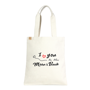LOF ECO-186 shopping tote I Love You To The Moon And Back beige