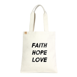 LOF ECO-210 shopping tote Faith Hope Love beige
