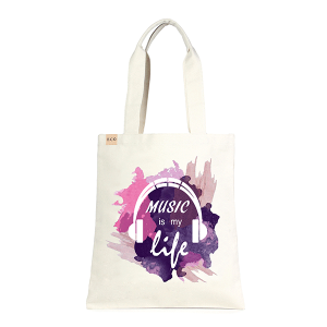 LOF ECO-235 shopping tote Music Is My Life purple beige