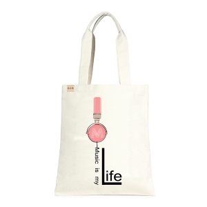 LOF ECO-236 shopping tote Music Is My Life headphone pink beige