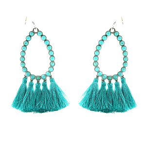 Earring 2447B 18 Treasure stone tear drop hoop tassel earring turquoise