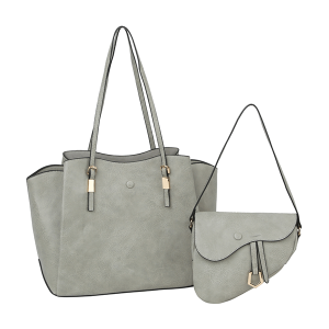 Handbag Republic F-0344-2S 2 in 1 fashion tote crossbody set gray