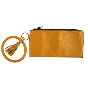 Wallet FGB023 Story By Davinci wrist zip wallet pebbled mustard
