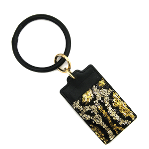 Keychain 131e 25 Tell Your Tale card holder sequin animal print gold