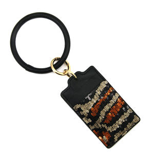 Keychain 130c 25 Tell Your Tale card holder sequin animal print brown