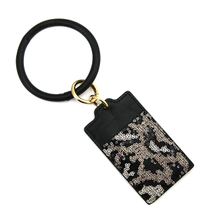 Keychain 135e 25 Tell Your Tale card holder sequin animal print hematite