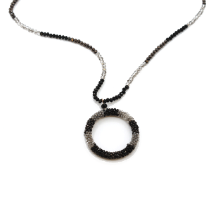 Necklace 1735B 24 bead with a round amulet necklace black