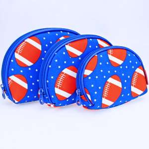 luggage 1003 3pc oval cosmetic pouch football royal blue