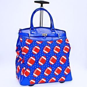 luggage 6419 rolling duffle football royal blue