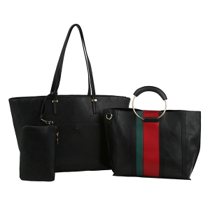 Handbag Republic FV-0310 3in1 tote stripe set black