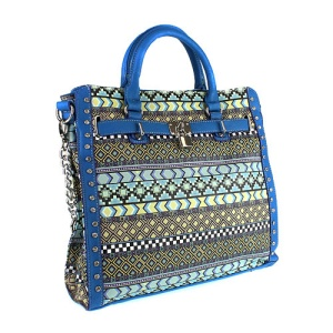 cs g 180 naz aztec chevron handbag blue green