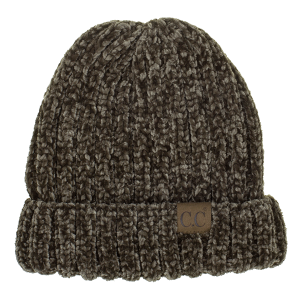 Winter CC Beanie 249a 82 chunky ribbed chenille new olive green