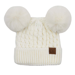 Winter CC Beanie 393 double pom cable knit ivory