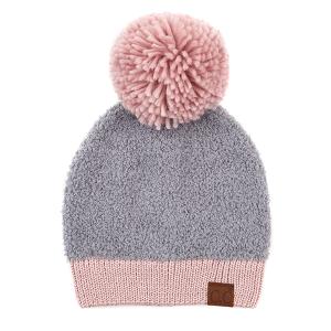 Winter CC Beanie 313b 82 knit sherpa yarn pom light melange gray