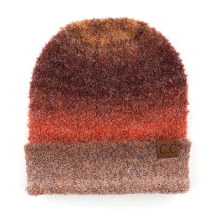 Winter CC Beanie 098b ombre mohair cuff rust mix