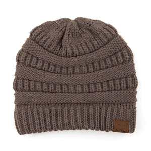 Winter CC Beanie 390 classic solid knit earth gray